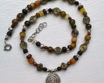 Spiral Pendant Beaded Necklace Handmade Original Jewelry Circle Beads One of a kind SamantheART