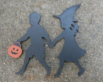 Halloween Boy and Girl Trick or Treating Cutout