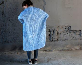 Women coat,oversized , wearable art, nuno felted coat, designer coat, Hand made, felted jacket, eco-fashion, wool Coat , warm coat, clothing