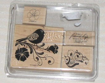 NEW Stampin Up WINGS of FRIENDSHIP Complete Mounted Lot of 4 Scrapbooking Card Making Crafting Retired
