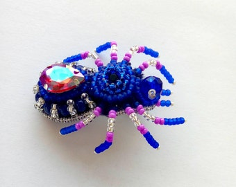 Spider Jewelry,  Blue Jewelry, Gift, Gift for mom, Spider Brooch, Spider Pin Insect, Pin Statement Jewelry, Gift For Wife
