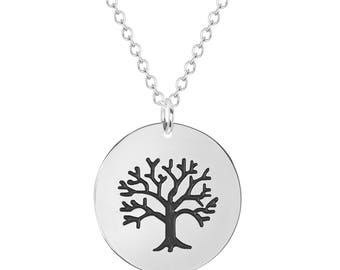 """Stainless Steel Tree of Life Quote Inspirational Pendant, 18"""" Chain Necklace"""