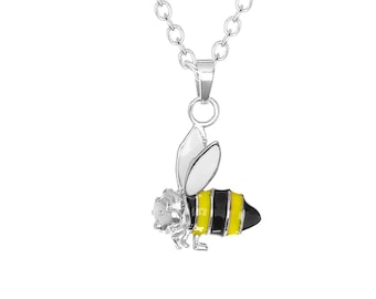 "Stainless Steel Enamel Inlay Bumble Bee Charm Pendant, 18"" Chain Necklace"