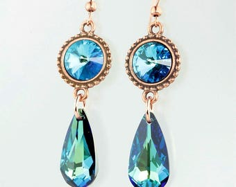 The Earrings are made with Bermuda Blue Swarovski Crystal and with Copper.