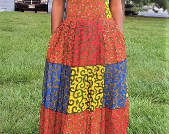 Multi-colored Long Pleated Ankara Skirt