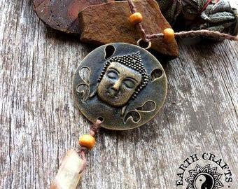 Buddha Medallion with Aura Quartz