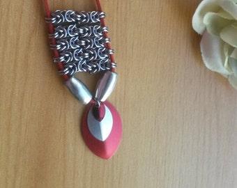 Scarlet Byzantine  Chain/Scale Maille Pendant - CMN5