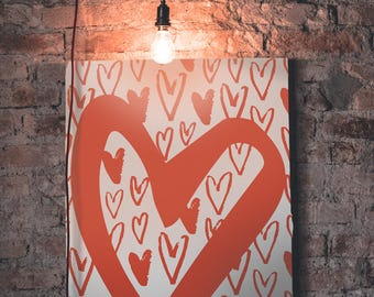 Plenty O' Hearts Valentines Love Canvas Wall Art Print Decor Home Picture Abstract Home, Office or Dorm