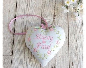 Personalised Wedding Memento Heart Decoration, wedding gift, Keepsake, bride & groom gift, wedding anniversary gift