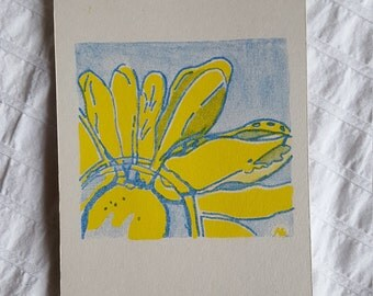 Original Risoprint Flower Postcard