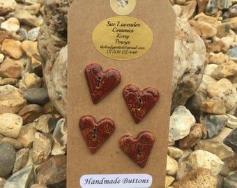 Four Ceramic Heart-shaped Buttons (BT71)