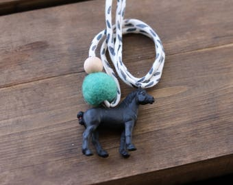 Percheron - Children's Felt Ball Animal Horse Necklace