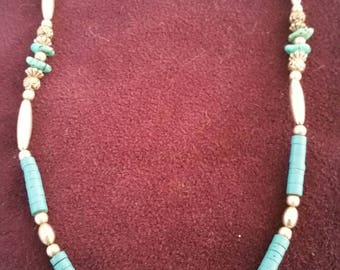 Simple Native American Silver and Turquoise Necklace