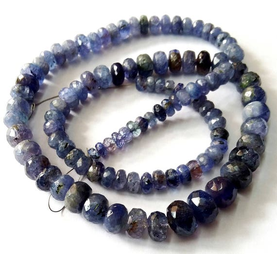 Faceted Rondelle Tanzanite: Natural TANZANITE Faceted Beadsrondelles Beads4 Mm 9 Mm