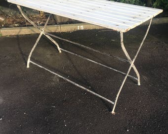 FRENCH VINTAGE FOLDING Garden Table - White Painted Wood & Metal
