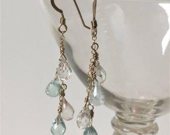 Beryl Gemstone Earrings,Aquamarine Earrings,14 K gold Filled