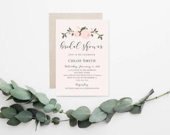 Floral Bridal Shower Invitation, Invitation Template, Printable Invitation, Pink Floral Bridal Invitation