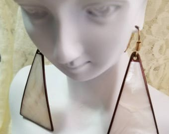Vintage Copper Trimmed Triangular Mother of Pearl Pierced Earrings