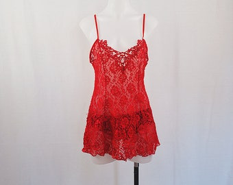 Vintage Red Lace Mini Dress