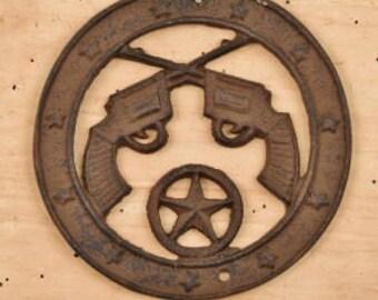 Gun plaque, pistol plaque, pistol sign, gun sign, round sign