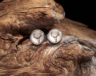 Earrings deer skull, black and white, 12 mm stainless steel or wood
