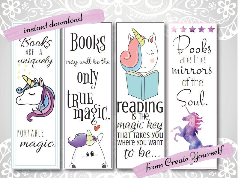 Printable bookmark unicorn bookmark gift for her lovers