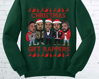 Christmas Gift Rappers Wrappers Jay z Kendrick Kanye Kendrick Drake ugly christmas sweater Crewneck Sweater Hoodie FEA545