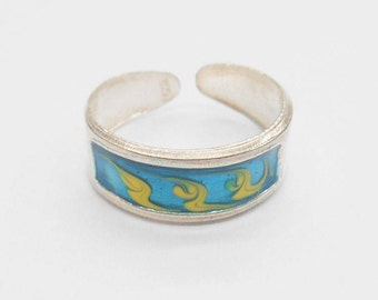 Toe Ring, Sterling Toe Ring, Enamel Toe Ring, Silver Toe Ring, Sterling Silver Enamel Teal Blue & Yellow Toe Ring #1113