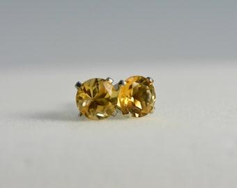 Citrine earrings | sterling silver, 6mm round, natural quartz, Yellow earrings, citrine studs, citrine jewelry,november birthstone,valentine
