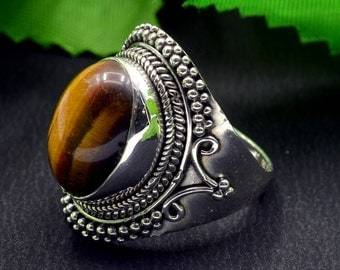 Natural Tiger's Eye Oval Gemstone Ring 925 Sterling Silver R745