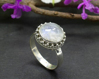 Natural Rainbow Moonstone Round Gemstone Ring 925 Sterling Silver R263