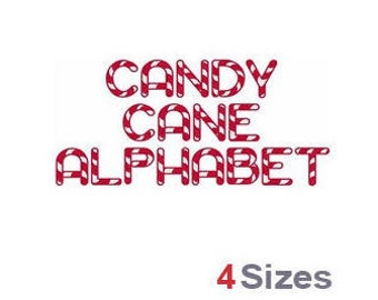 Candy Cane Alphabet - Machine Embroidery Font