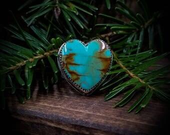 Turquoise Heart Ring / Modern Southwest Ring / Something Blue / Turquoise Engagement Ring / Turquoise Ring / Alternative Engagement Ring