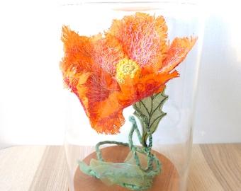 Coquelicot, Pavot, Meconopsis - sculpture textile, fleur éternelle, décoration fleur, art textile