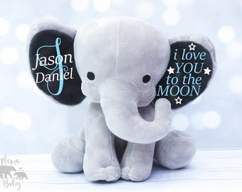 Baby Boys Keepsake Elephant, I Love You To The Moon Elephant, Monogrammed Elephant, Newborn Gift, Personalized Elephant, Birth Stat Plush