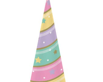 Pastel and Gold Unicorn Horn Party Hats/ Unicorn Birthday Party Hats/ Pastel Unicorn Horn Hats