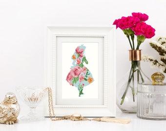 Alice in wonderland Cross stitch pattern Silhouette Cute Disney Floral Flower Girls room wall decor Watercolor Instant download PDF #274