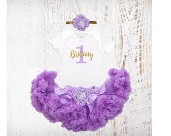 1st Birthday Outfit Violet Lavender & Gold Silver Girl One Tutu Pettiskirt Outfit Cake Smash Shirt Onesie Bodysuit Headband