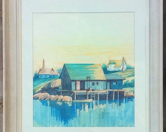 Boathouse Waterfront Beach House Decor Illustration Art