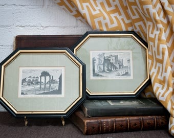 Pair of Rare 1795 Rome Etchings in Octagonal Frames – Antique – Architectural - Art