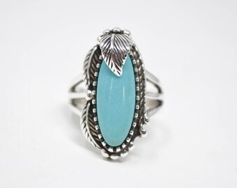 Vintage Native American Carol Felley Southwest Sterling Turquoise Sterling Silver Feather Ring - 7 - 580815708