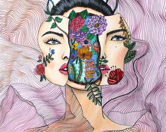 FLOWER POWER,Art Print,Postcard,Fashion Wall Art,Holiday Card,Home Decor,Fashion illustration,Digital Print,Fashion Clipart,Vogue,Modern Art