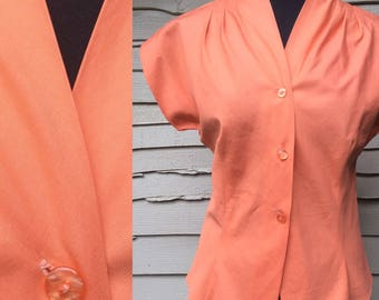 Vintage Fifties Classic Fitted Terracotta Coloured Blouse Label: Galson Original. UK Size 12 Vintage 1950's 50's