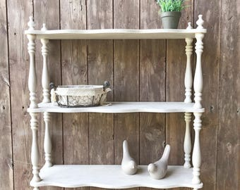 Revisited and weathered wood color linen trendy shabby chic wall shelf