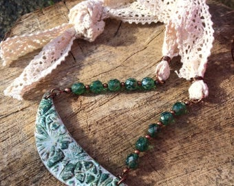 Boho Lace Necklace, Statement Necklace, Crescent Necklace, Beaded Necklace, Tie Necklace, Unique Necklace, Boho Jewellery, One of a Kind