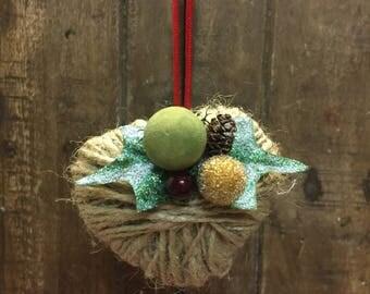 Small Twine Heart Christmas Ornament, Christmas Ornament, Tree Ornament