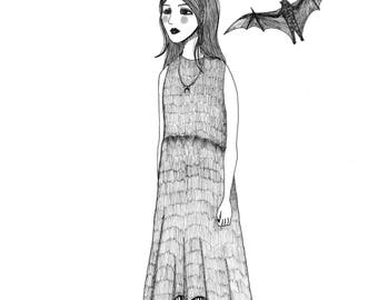 Bats Art Print Giclee Archival Wall Art - Linework Black and White Girl with Bats