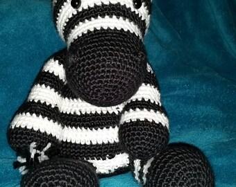 Handmade crochet zebra