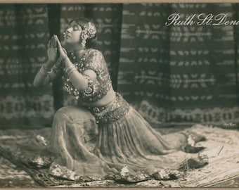 Ruth St. Denis | Famous American Dancer & Teacher | Founder of Denishawn School of Dance | Turn of the Century Postcard | Eastern Exoticism