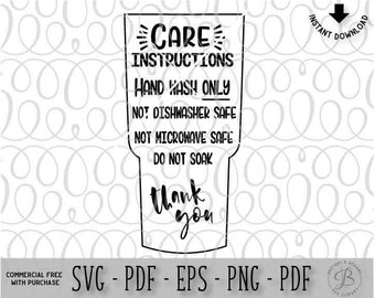 Care Card Instructions BUNDLE Apply Vinyl Decal Print And - Vinyl cup care instructions